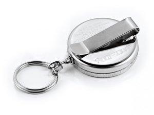 Legitimatie katrol 50mm met clip, stalen kabel en sleutelring
