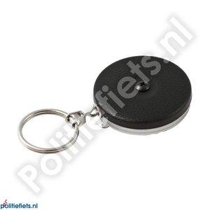 Legitimatie katrol 53mm met clip, 60cm RVS ketting en sleutelring