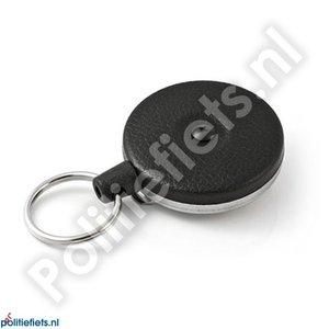 Legitimatie katrol 53mm met clip, 120cm kevlar kabel en sleutelring (zwart)