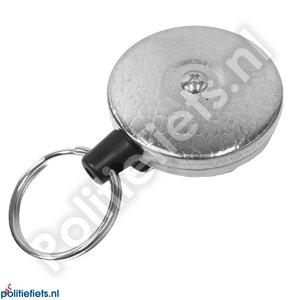Legitimatie katrol 53mm met clip, 120cm kevlar kabel en sleutelring (zilver)